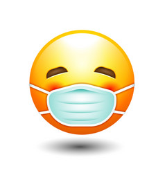 Yellow face face mask emotion icon vector