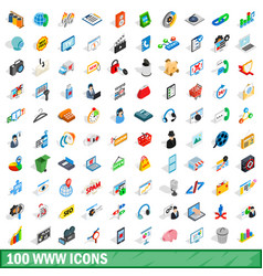 100 www icons set isometric 3d style vector image vector image
