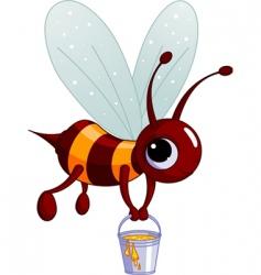 bee holding a honey bucket vector image vector image