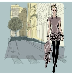 Fashion models in sketch style with Paris city vector image vector image