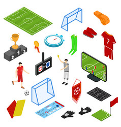 football or soccer game icons set isometric view vector image vector image