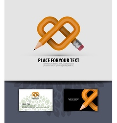 Pencil and heart Business card Logo icon symbol vector image vector image
