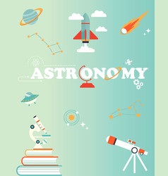 space poster with set of icons rocket planet vector image