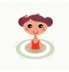 Swimming summer girl retro cartoon vector
