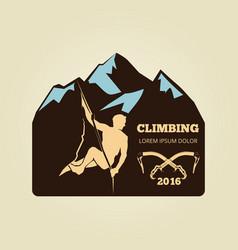 vintage mountain climbing logo - sport activity vector image vector image
