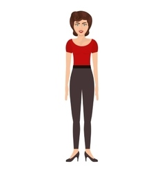 Woman with red t-shirt and pants vector