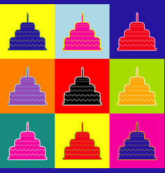 cake with candle sign pop-art style vector image