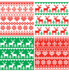 christmas patttern set winter design vector image