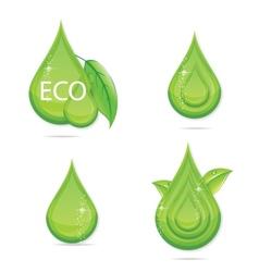 elegance green drops water eco sign vector image vector image