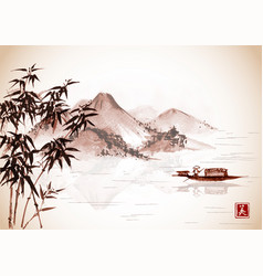fishing boat and island with mountains on vintage vector image vector image