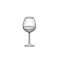 half full wine glass wineglass engrave drink sign vector image