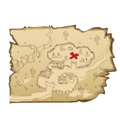 Map in wild West style with village and cemetery vector image