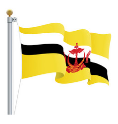 waving brunei flag isolated on a white background vector image vector image
