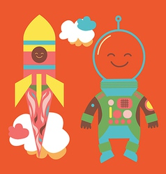 Astronaut and rocket vector image vector image