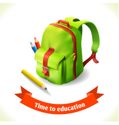 Backpack education icon vector image vector image