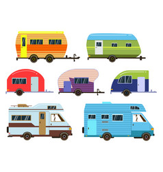 campers cars set different resort trailers vector image