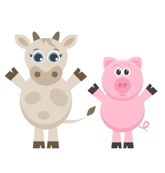 cute cow and pig isolated on white vector image