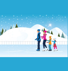happy family skating on ice rink on cityscape vector image vector image