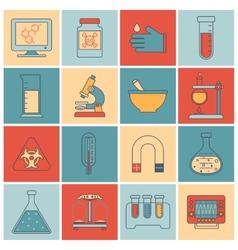 Laboratory equipment icons flat line vector image