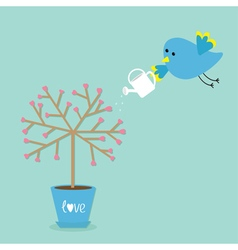 Love tree in the pot Heart flower Bird with vector image