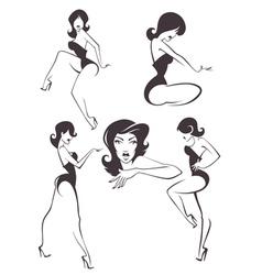 pin up girls vector image vector image