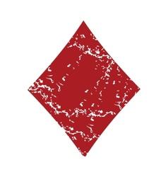 Red grunge diamonds card logo vector image