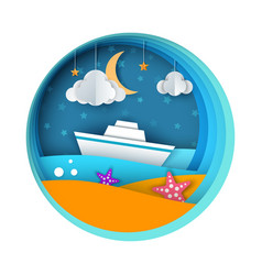ship paper landscape sea cloud star cartoon vector image