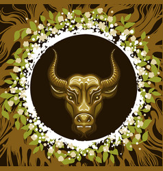 zodiac sign of taurus in earth circle vector image