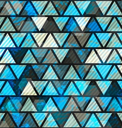 blue triangle grunge seamless pattern vector image vector image