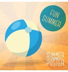 Cute summer poster - blue and yellow striped beach vector
