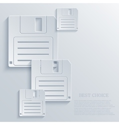 Modern diskette light icon background vector