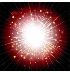 red and gold light explosion vector image