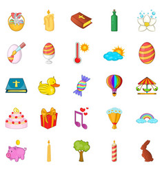 Religious holiday icons set cartoon style vector