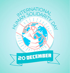 20 December international human solidarity day vector