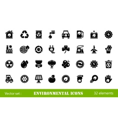 32 environmental icons vector image