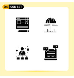 4 universal solid glyph signs symbols browser vector
