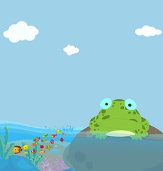 A frog and a water in pond vector