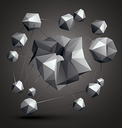 Asymmetric 3D abstract object monochrome geometric vector