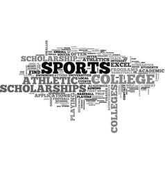 athletic scholarships text word cloud concept vector image