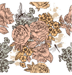 beautiful seamless background with roses flowers vector image