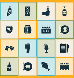 Beverages icons set with ale sign pizza with vector