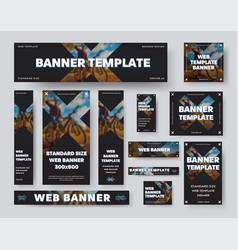 black web banner template with cross and blurry vector image