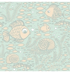 Blue hand drawn fishes Wallpaper textile pattern vector