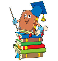 Book teacher on pile of books vector