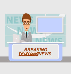 breaking cryptonews concept flat vector image