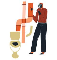Builder man welding pipe in bathroom house vector