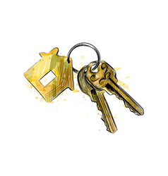 Bunch keys with house shaped trinket from a vector