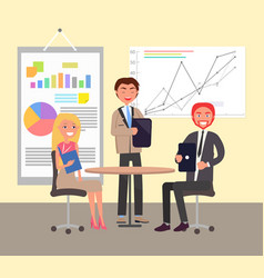 business conversation in office colorful poster vector image