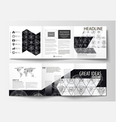 Business templates for square tri fold brochures vector