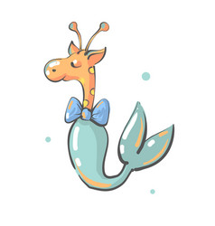 camelopard with bow and mermaid fish tail nursery vector image
